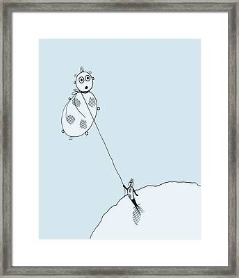 Framed Print featuring the drawing The Unexpected Consequences Of Inhaling Helium by Keith A Link