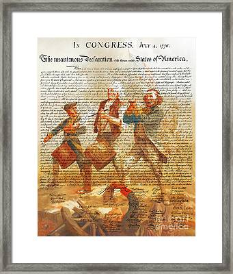 The United States Declaration Of Independence And The Spirit Of 76 20150704v1 Framed Print by Wingsdomain Art and Photography