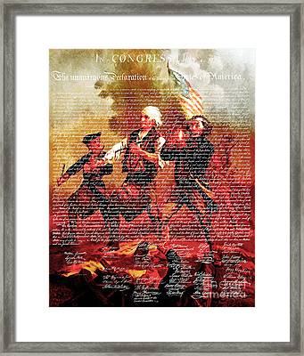 The United States Declaration Of Independence And The Spirit Of 76 20150704v3 Framed Print by Wingsdomain Art and Photography