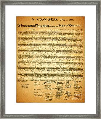 The United States Declaration Of Independence Framed Print by Wingsdomain Art and Photography