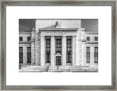 The United States Federal Reserve Bw Framed Print by Susan Candelario
