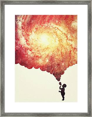 The Universe In A Soap Bubble Awesome Space Nebula Galaxy Negative Space Artwork Framed Print