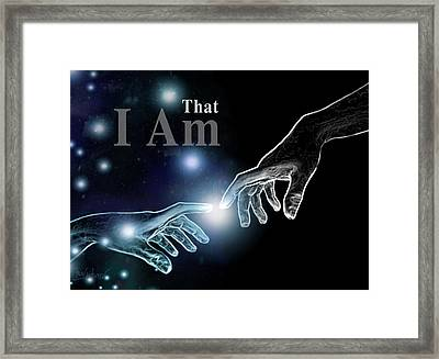 The Universe Inspired By Creation Of Adam Of Michelangelo Framed Print