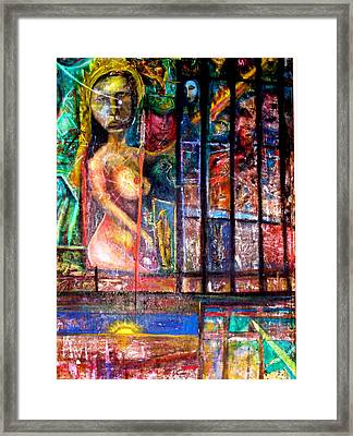 Framed Print featuring the painting The Universe Is Hers by Kicking Bear  Productions