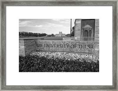 The University Of Tulsa Oklahoma In Black And White Framed Print