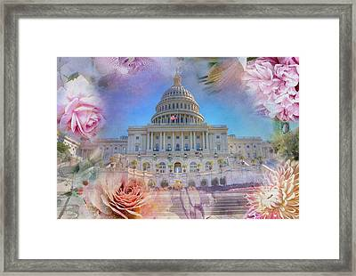 The Us Capitol Building At Spring Framed Print
