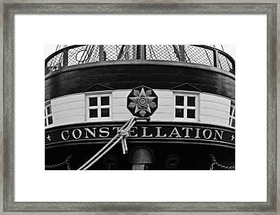 The Uss Constellation Navy Ship In Baltimore Harbor Framed Print