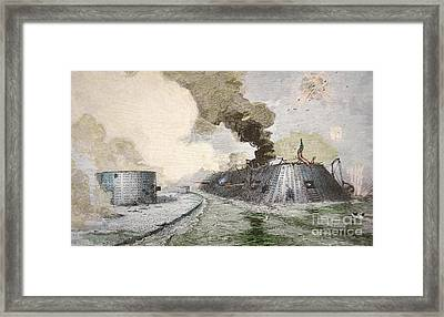 The Uss Monitor Fighting The Css Merrimack At The Battle Of Hampton Broads During The Civil War Framed Print by American School