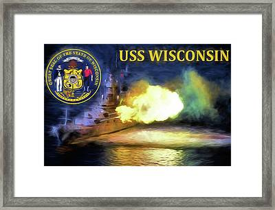 The Uss Wisconsin Framed Print by JC Findley
