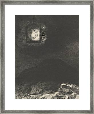 The Vague Glimmer Of A Head Suspended In Space Framed Print by Odilon Redon