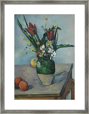 The Vase Of Tulips Framed Print by Paul Cezanne