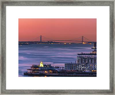 Framed Print featuring the photograph The Verrazano Bridge At Sunrise by Francisco Gomez
