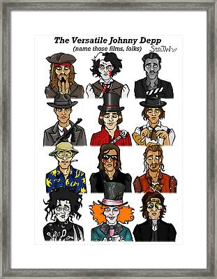 The Versatile Johnny Depp Framed Print
