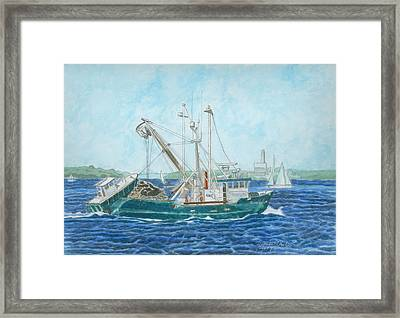 The Vessel Ocean Venture - Portland Harbor Framed Print by Dominic White