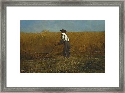 The Veteran In A New Field Framed Print by Winslow Homer