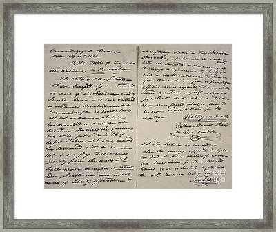 The Victory Of Death Letter Written By The Alamo Commander William Barret Travis, 1836  Framed Print by William Barret Travis
