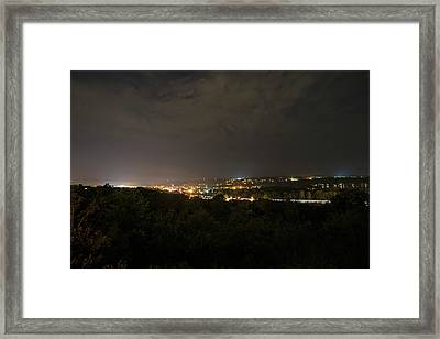 The View From Sunset Park At Night Ithaca Ny Framed Print