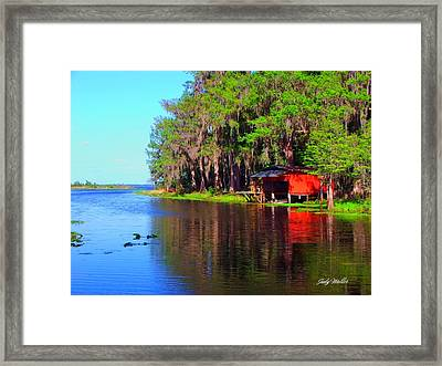 The View From The Bench Framed Print by Judy  Waller