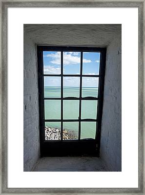 The View From The Lighthouse Window Bill Baggs Lighthouse Key Biscayne Florida Framed Print by Toby McGuire