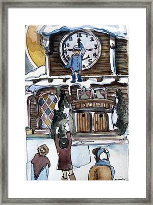 The Village Clock Framed Print by Mindy Newman