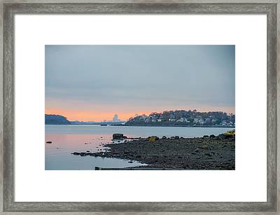 The Village Of Hull With Boston Skyline In The Backround Framed Print by Bill Cannon