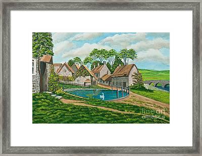The Village Pond In Wroxton Framed Print
