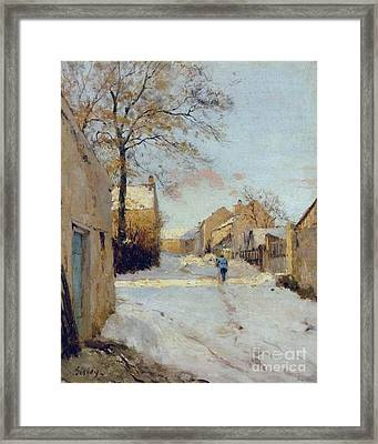 The Village Street In Winter Framed Print by MotionAge Designs
