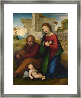 The Virgin Adoring The Child With Saint Joseph Framed Print