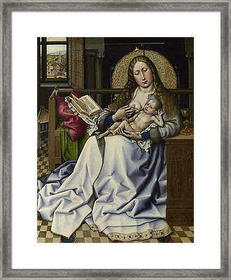 The Virgin And Child Before A Firescreen Framed Print