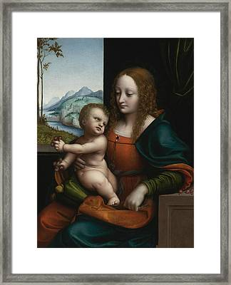 The Virgin And Child By A Window Framed Print by Giampietrino