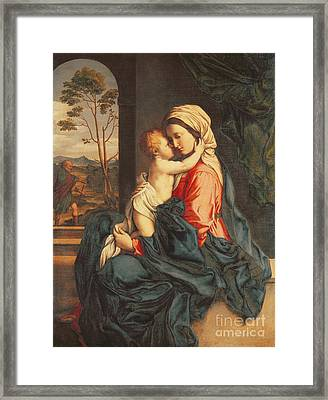 The Virgin And Child Embracing Framed Print