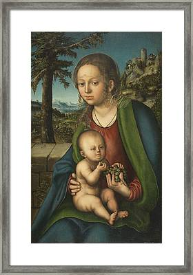 The Virgin And Child With A Bunch Of Grapes Ca. 1509  1510 By Lucas Cranach The Elder Framed Print by Celestial Images
