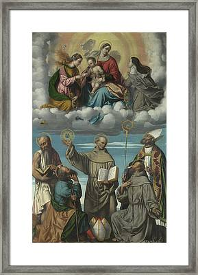 The Virgin And Child With Saint Bernardino And Other Saints Framed Print by Moretto da Brescia