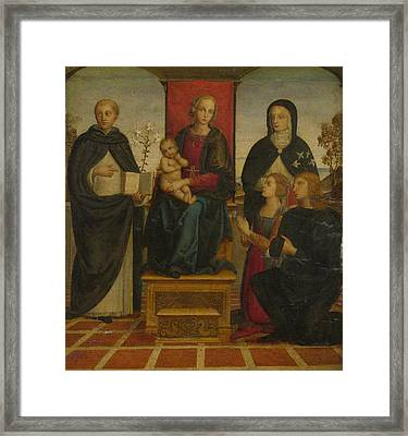 The Virgin And Child With Saints Framed Print