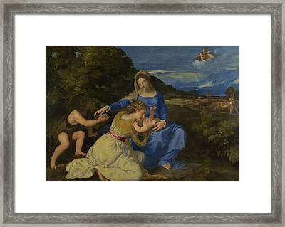 The Virgin And Child With The Infant Saint John And A Female Saint Or Donor  Framed Print by Titian