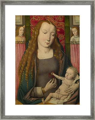The Virgin And Child With Two Angels Framed Print by Follower of the Master of the Saint Ursula Legend Bruges