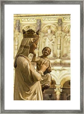 The Virgin Blanca Or Smiling Madonna - Toledo Cathedral - Toledo Spain Framed Print