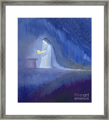The Virgin Mary Cared For Her Child Jesus With Simplicity And Joy Framed Print by Elizabeth Wang