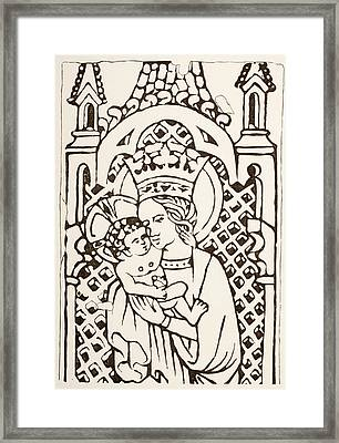 The Virgin Mary Holding The Infant Framed Print by Vintage Design Pics