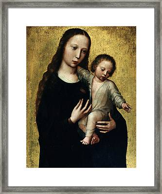 The Virgin Mary With The Child Jesus In A Shirt Framed Print by Ambrosius Benson