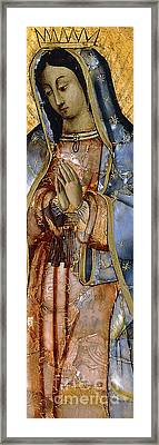 The Virgin Of The Guadaloupe Framed Print by Mexican School