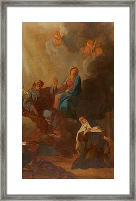 The Virgin Placing St Teresa Under The Protection Of St Joseph Framed Print by Francois Menageot
