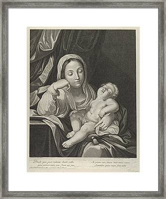 The Virgin Seated With Her Head Resting On Her Right Hand Holding The Sleeping Infant Christ Framed Print by Jean Boulanger