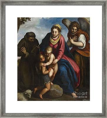 The Virgin With Saint John Saint Fracis And An Angel Framed Print
