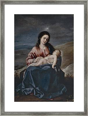 The Virgin With The Child Framed Print by Alonzo Cano