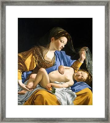 The Virgin With The Sleeping Christ Child Framed Print by Orazio Gentileschi