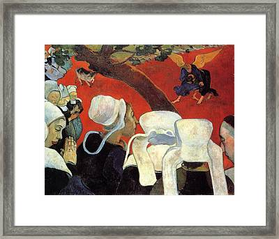 The Vision After The Sermon - Jacob Wrestling With The Angel Framed Print