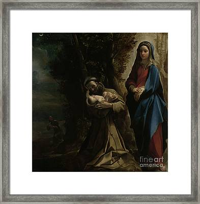 The Vision Of Saint Francis Of Assisi Framed Print by Lodovico Carracci