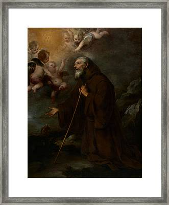 The Vision Of Saint Francis Of Paola Framed Print by Bartolome Esteban Murillo