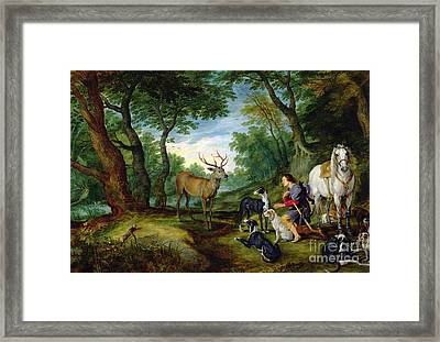The Vision Of Saint Hubert Framed Print by Brueghel and Rubens